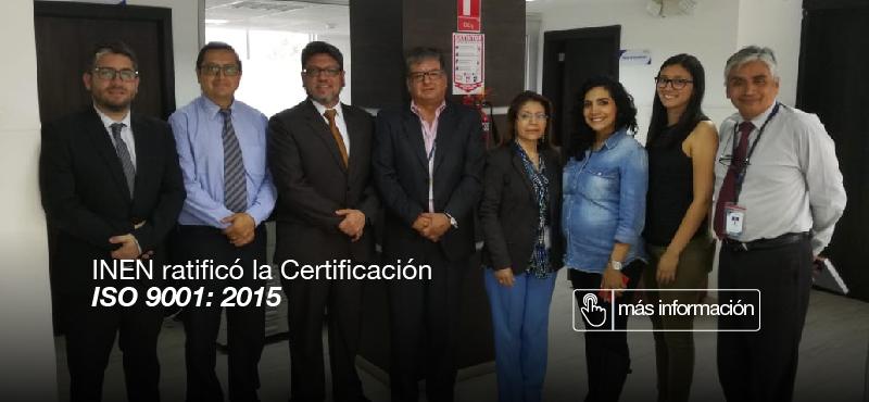 INEN ratificó la certificación  ISO 9001: 2015