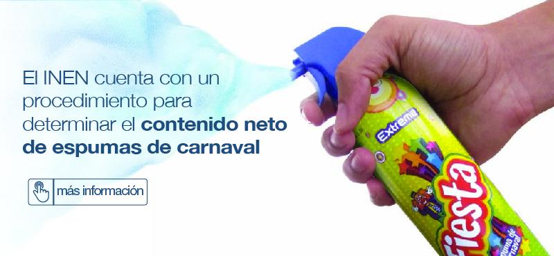 El Contenido Neto de las espumas de carnaval será verificado por el INEN